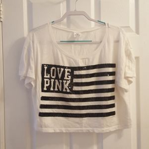 Victoria's secret crop top American Love pink tee